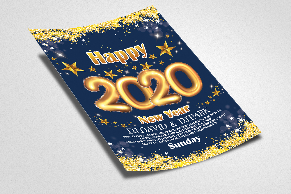 New Year Party Flyer/Poster Template example image 2