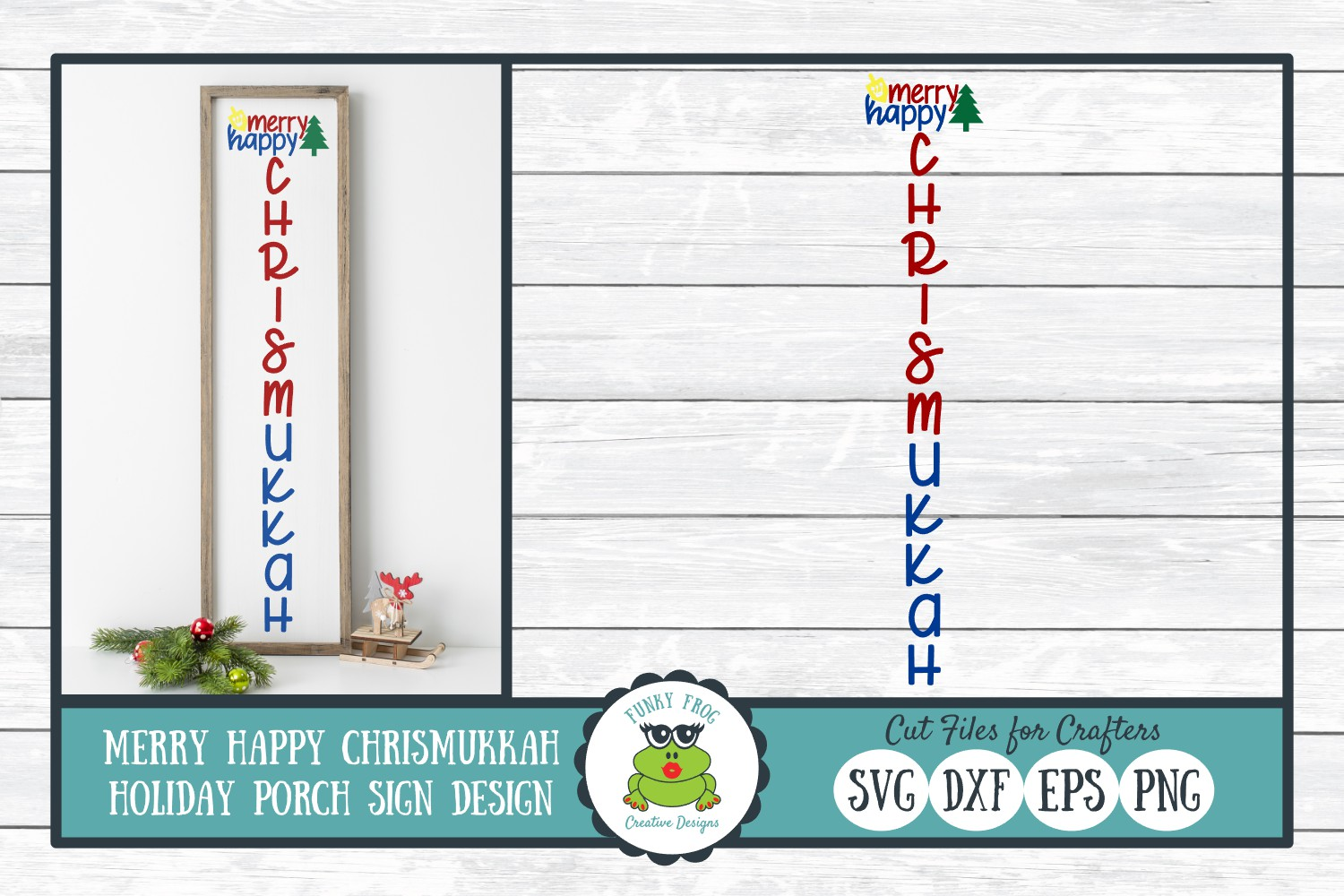 Merry Happy Chrismukkah Holiday Porch Sign Design, SVG example image 1