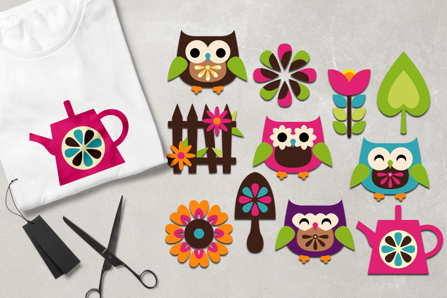 Owl spring garden graphics example image 1
