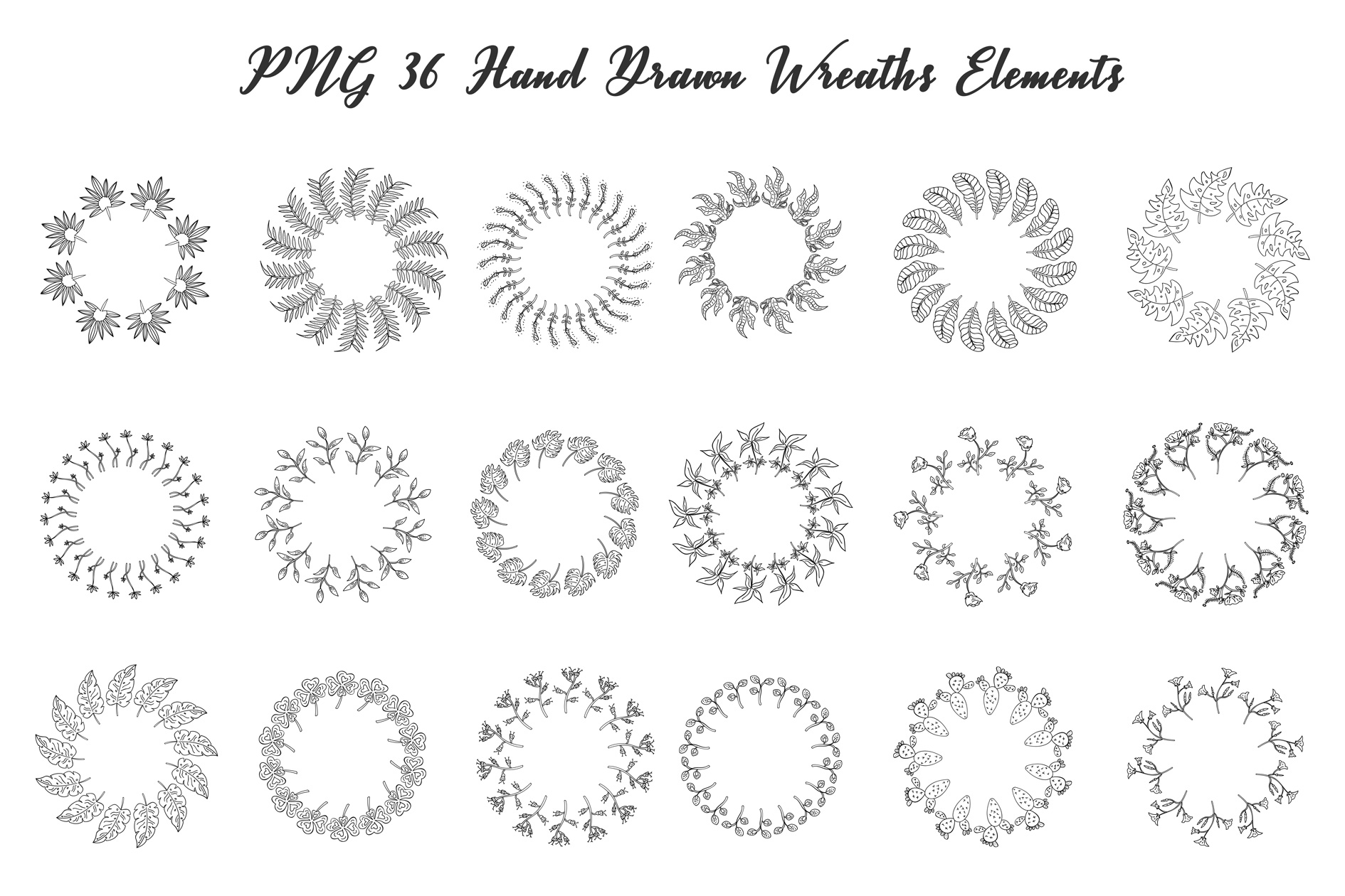 72 Hand Drawn Floral Wreaths example image 4