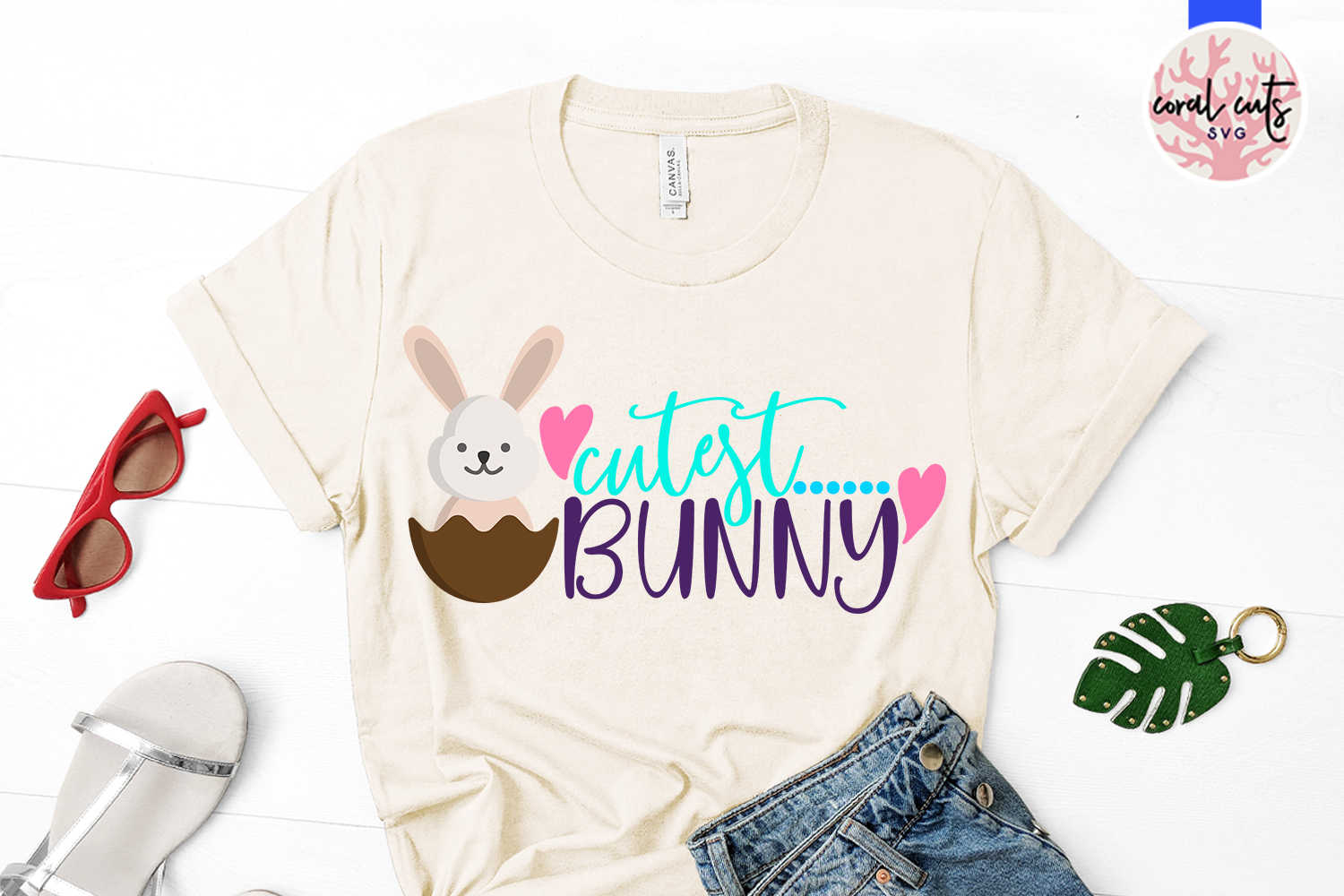 Cutest bunny - Easter SVG EPS DXF PNG Cutting File example image 2