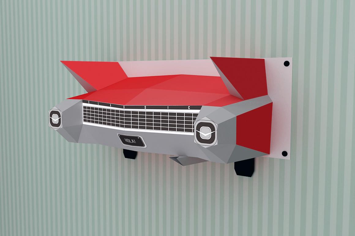 DIY Wall mount Car - 3d papercraft example image 3