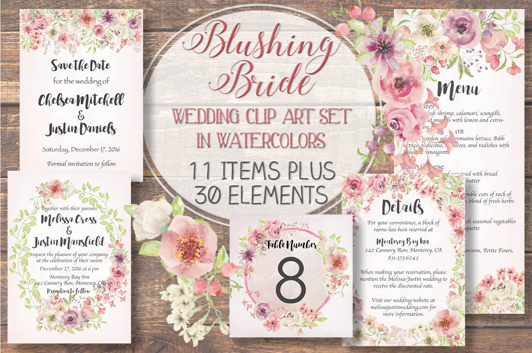 'Blushing Bride': wedding clip art set example image 1