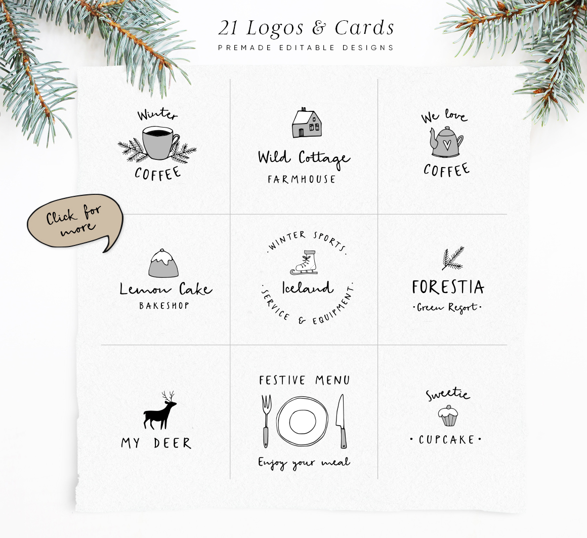 Snowy Christmas script font & logos example image 2
