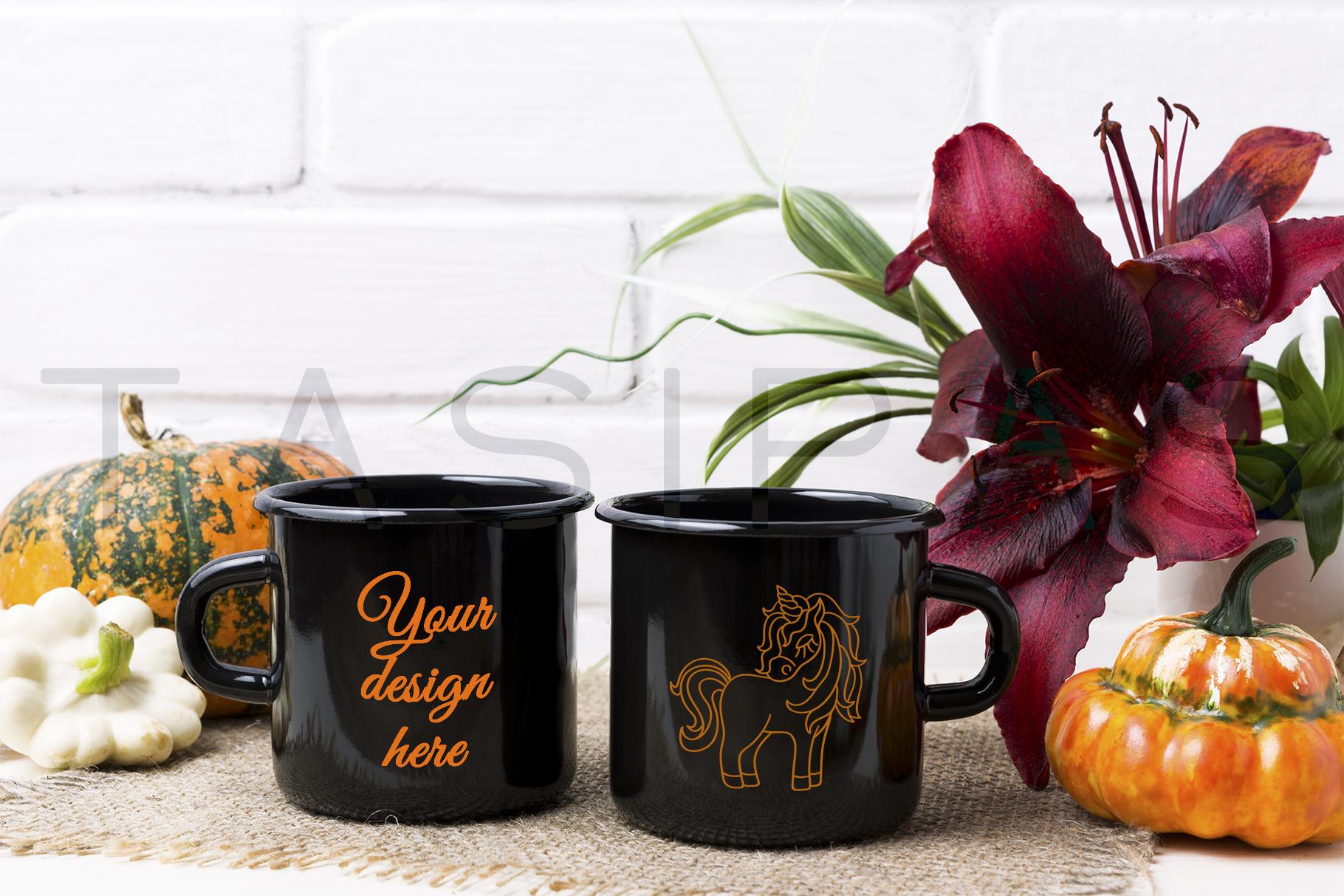 Two black campfire enamel mug mockup with pumpkin example image 1