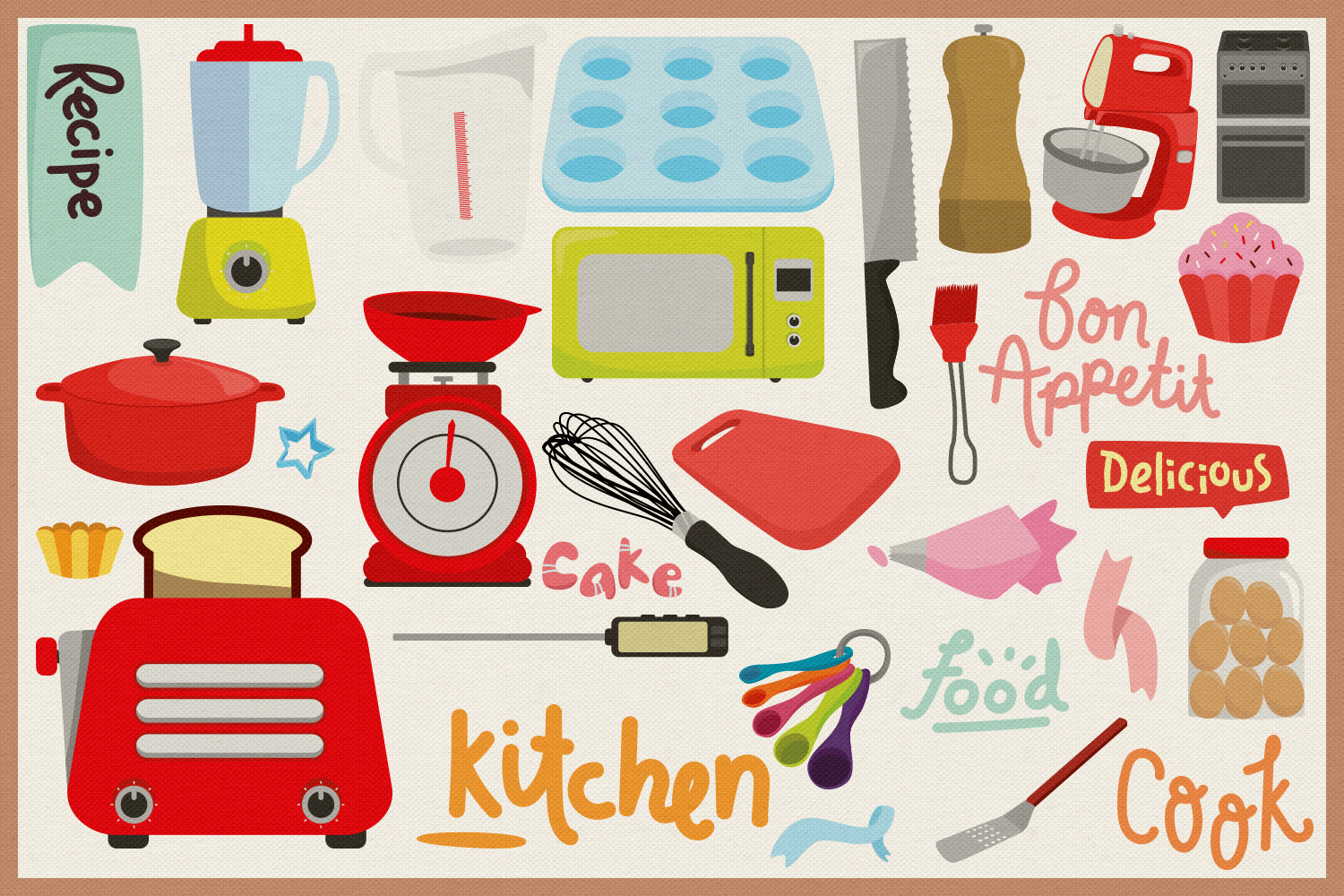 85 Baking and Cooking Vector Clipart & Seamless Patterns example image 2