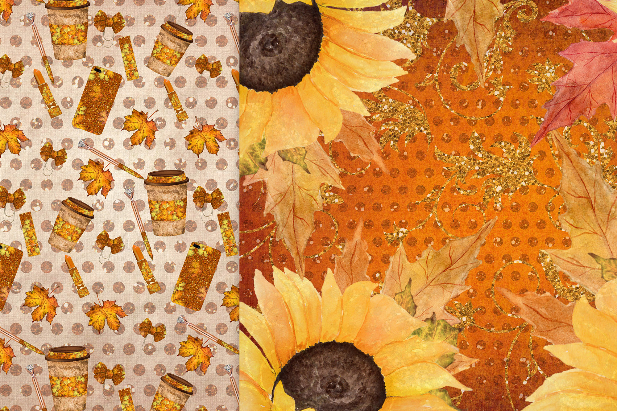 Fall digital papers, Sunflower papers,Autumn paper pack, 6x6 example image 2