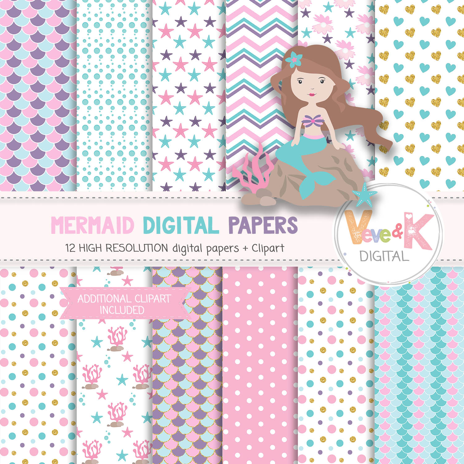 Mermaids Clipart and Papers Pack, Mermaids Clipart, Under the Sea Graphics, Ocean Graphics, Mermaid Baby Shower, Mermaid Background Papers example image 3