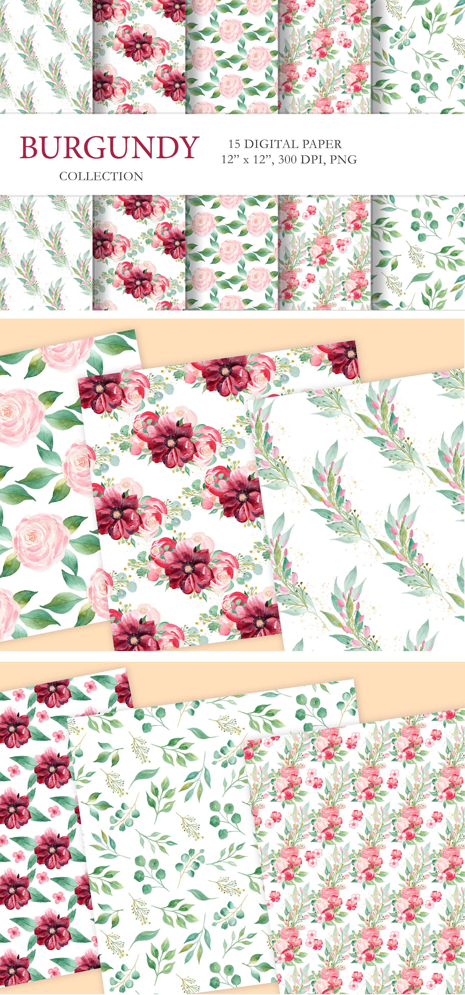 Watercolor Burgundy Floral Clipart Collection. example image 14