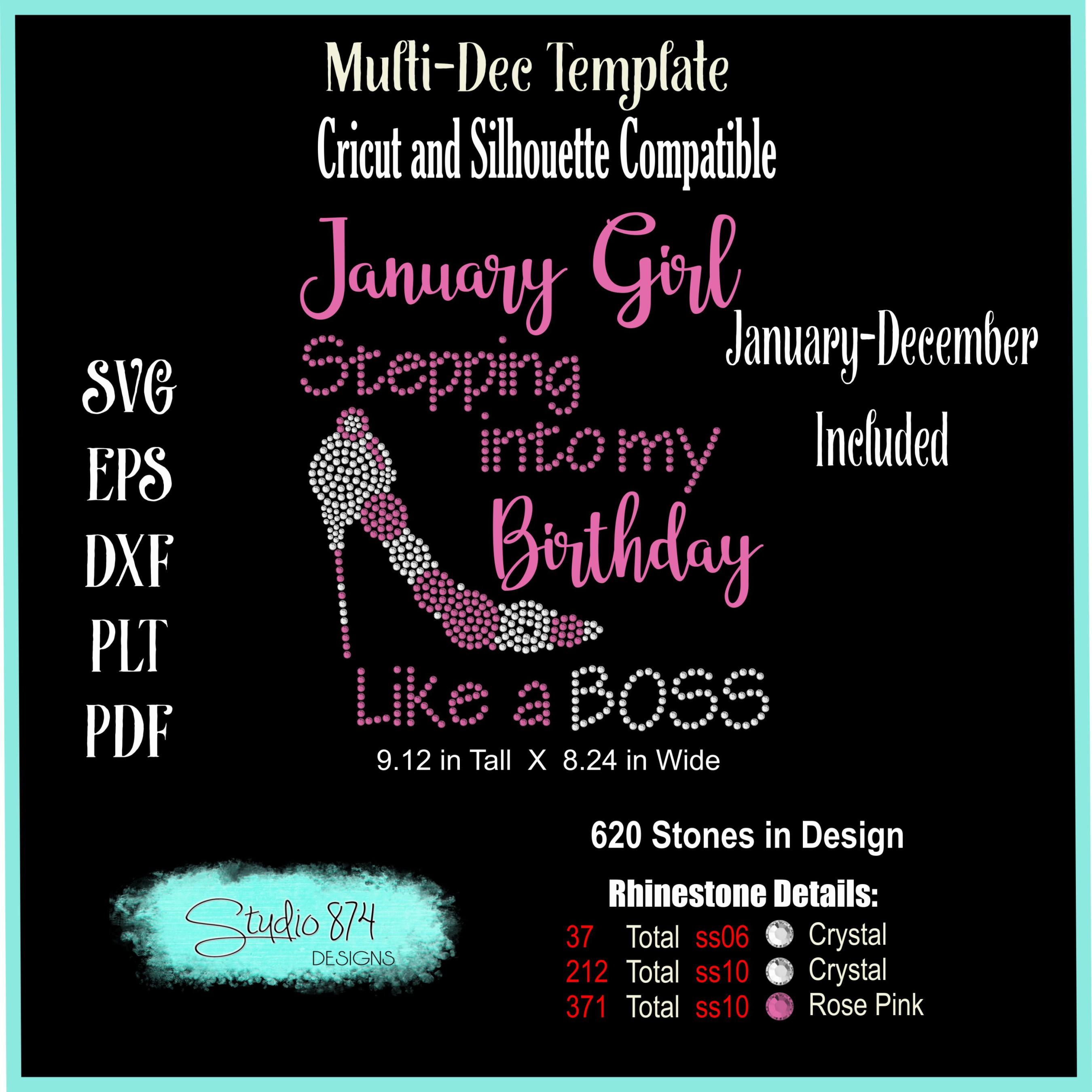 Stepping Into My Birthday Rhinestone Template - Boss R4 example image 2
