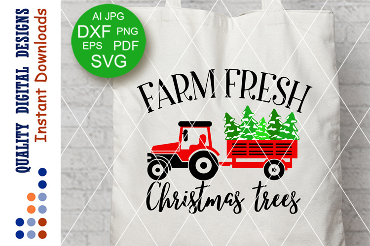 Farm Fresh CHRISTMAS Trees sign Farmers market Svg files Red example image 1