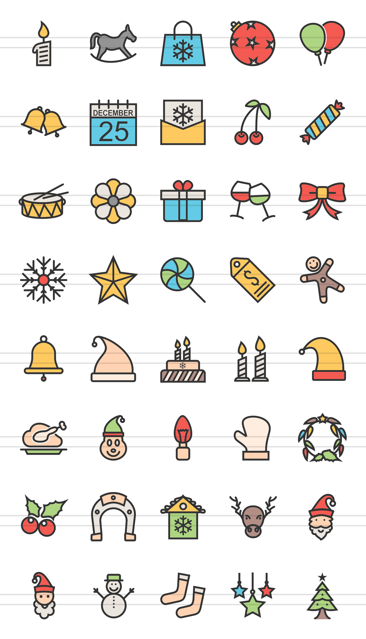 40 Christmas Linear Multicolor Icons example image 2