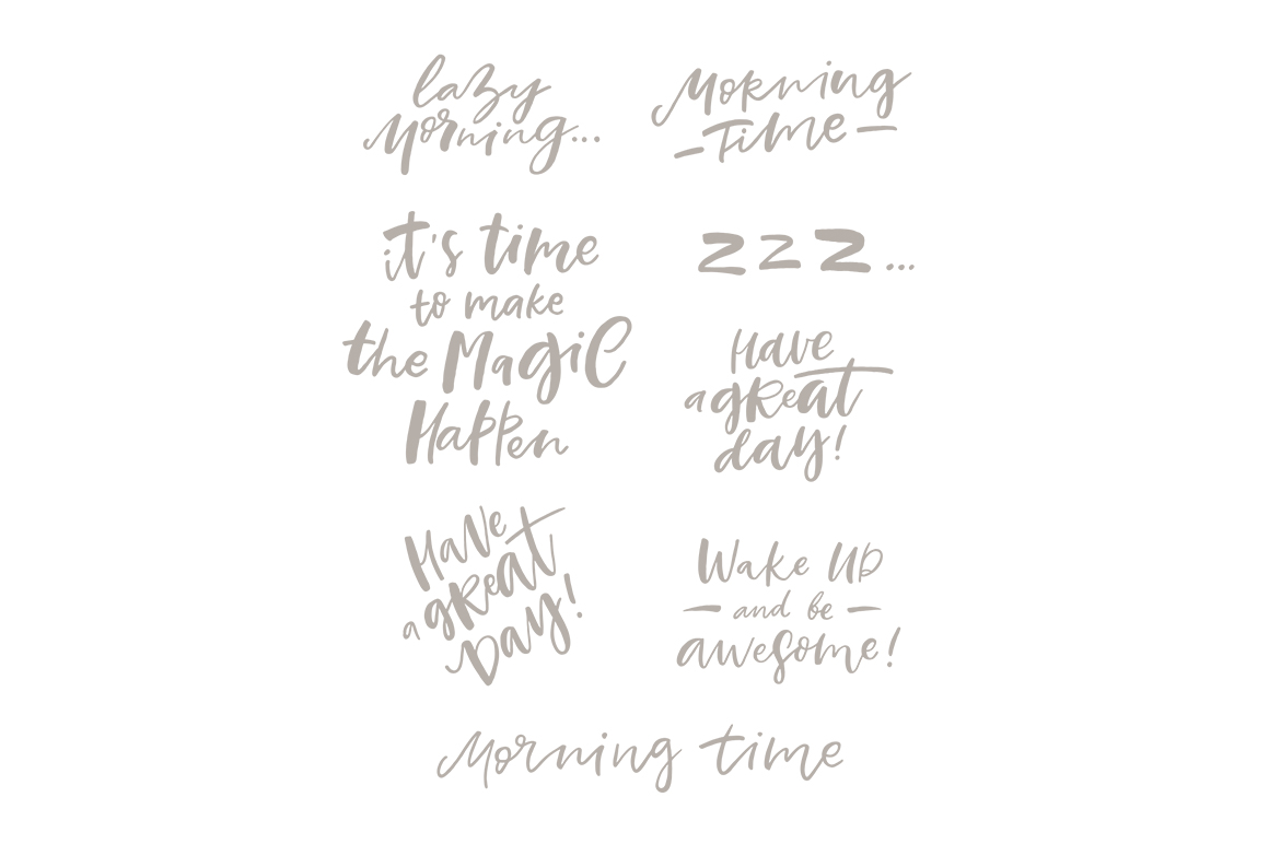 Morning Lettering set example image 7