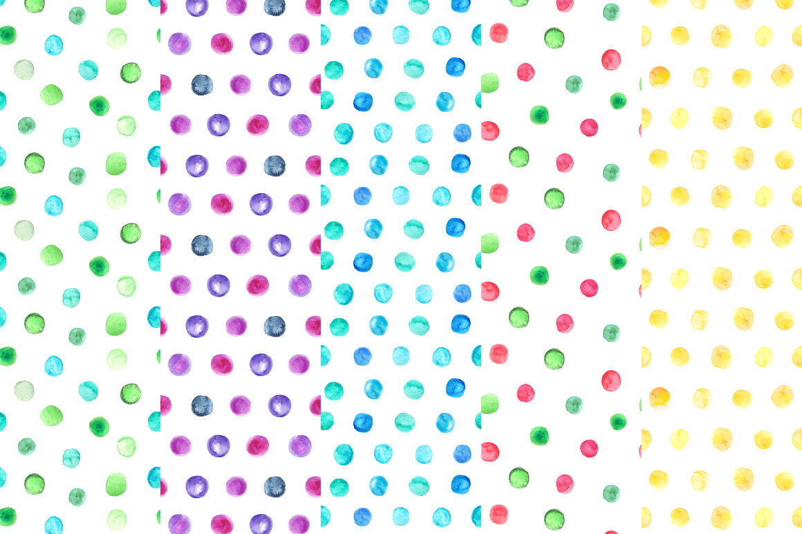 Watercolor Polka Dot Seamless Patterns example image 4