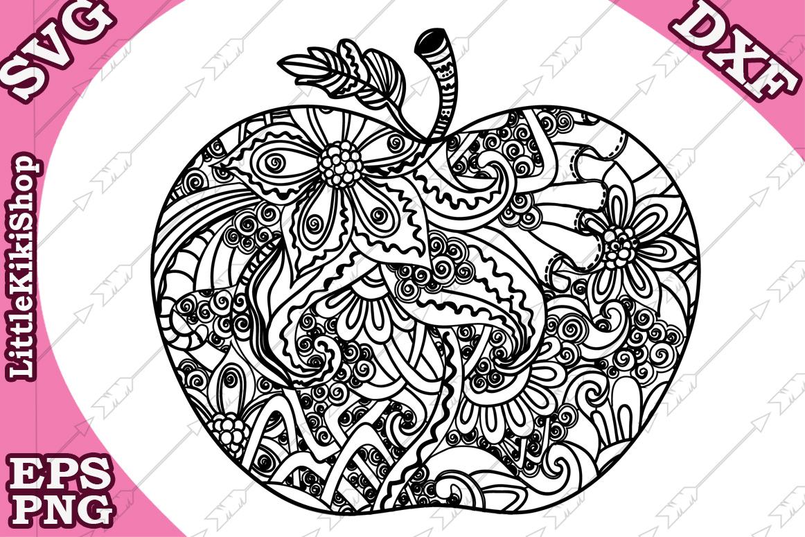 Zentangle Apple Svg, Mandala Apple Svg, Doodle Apple Svg example image 1
