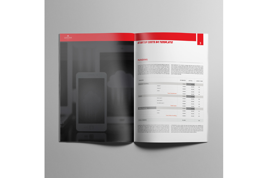 Startup Costs A4 Template example image 3