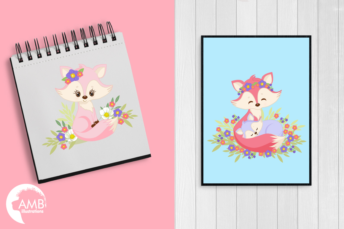 Cute Girl Foxes clipart, graphics, illustrations AMB-1377 example image 4