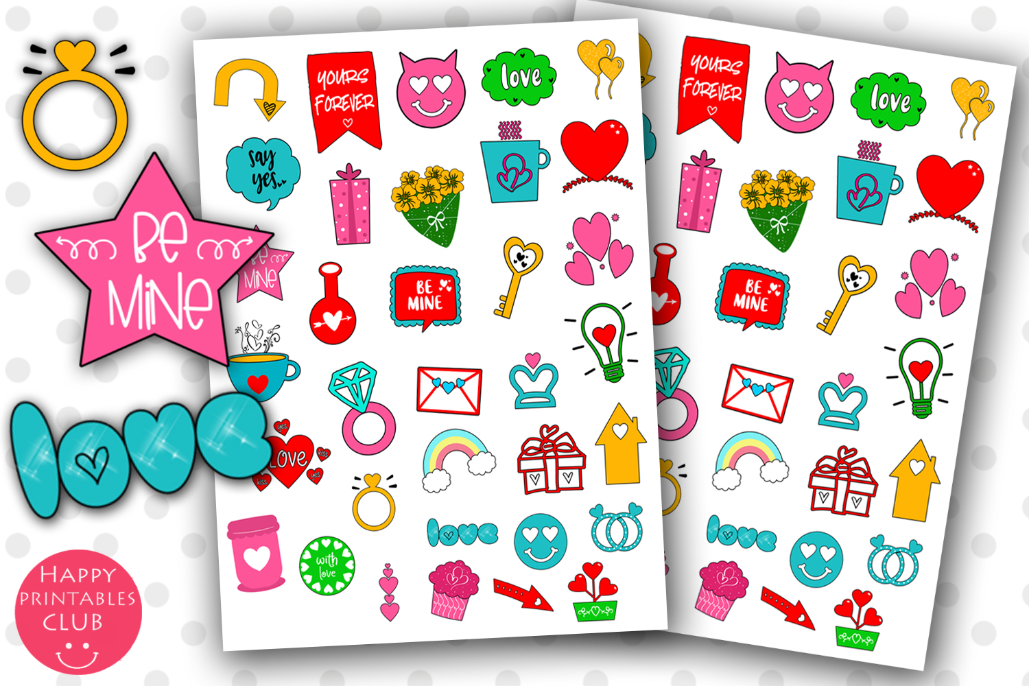 Valentines Day Planner Stickers- Romantic Planner Stickers example image 1