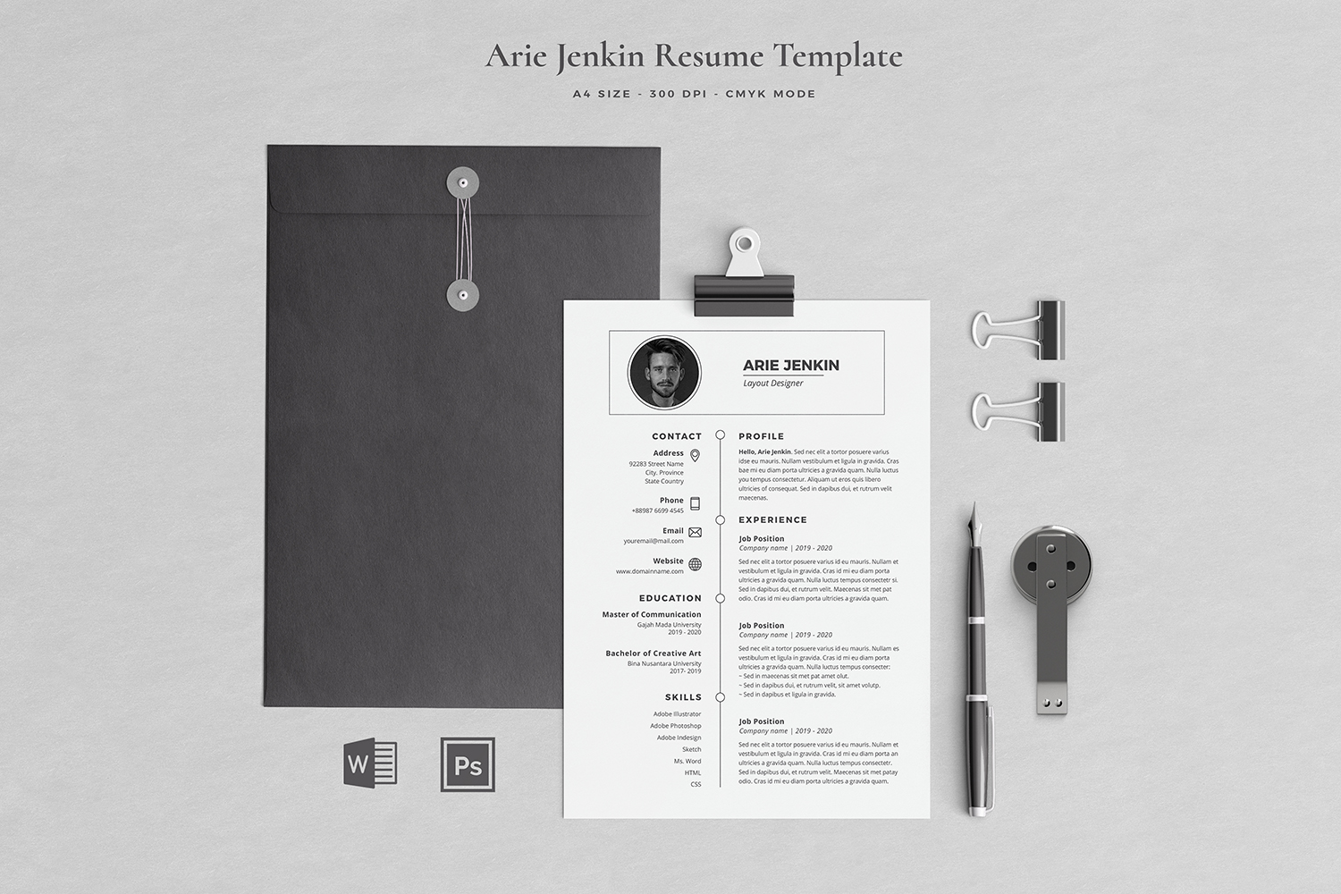 Arie Resume with Cover Letter Professional Template