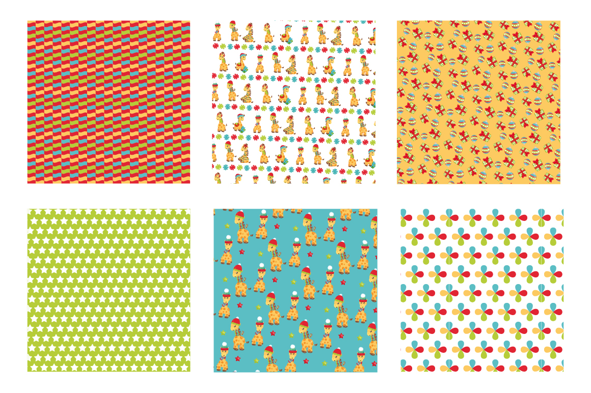 Christmas Giraffes Pattern collection, vector ai, example image 3