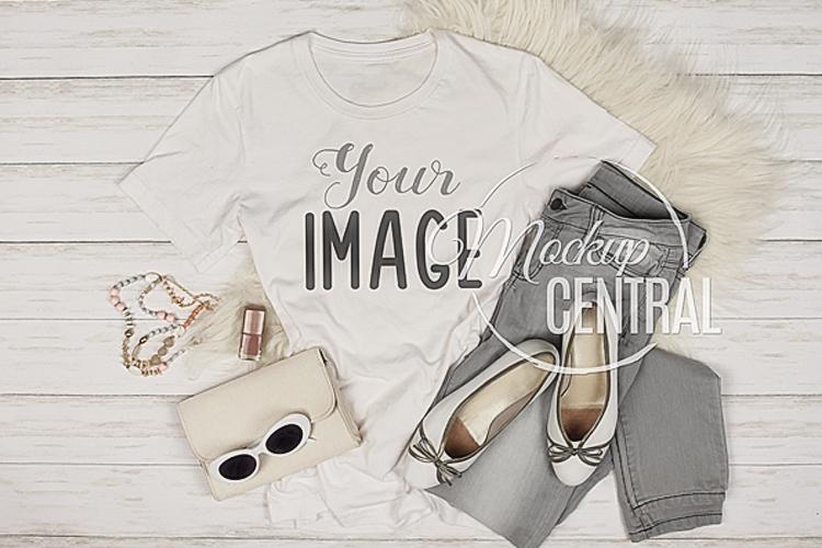 Women's White T-Shirt JPG Mockup Top View Flatlay example image 1