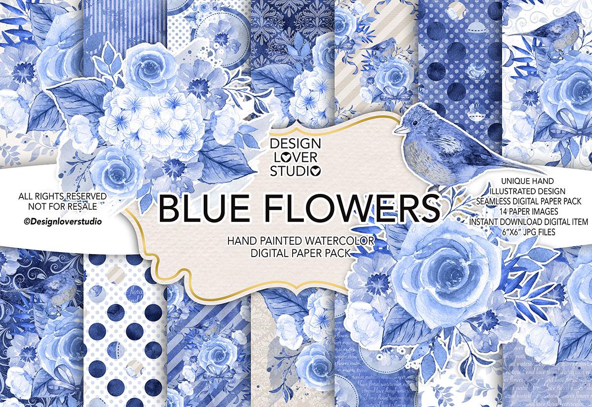 Watercolor BLUE FLOWERS digital paper pack example image 1