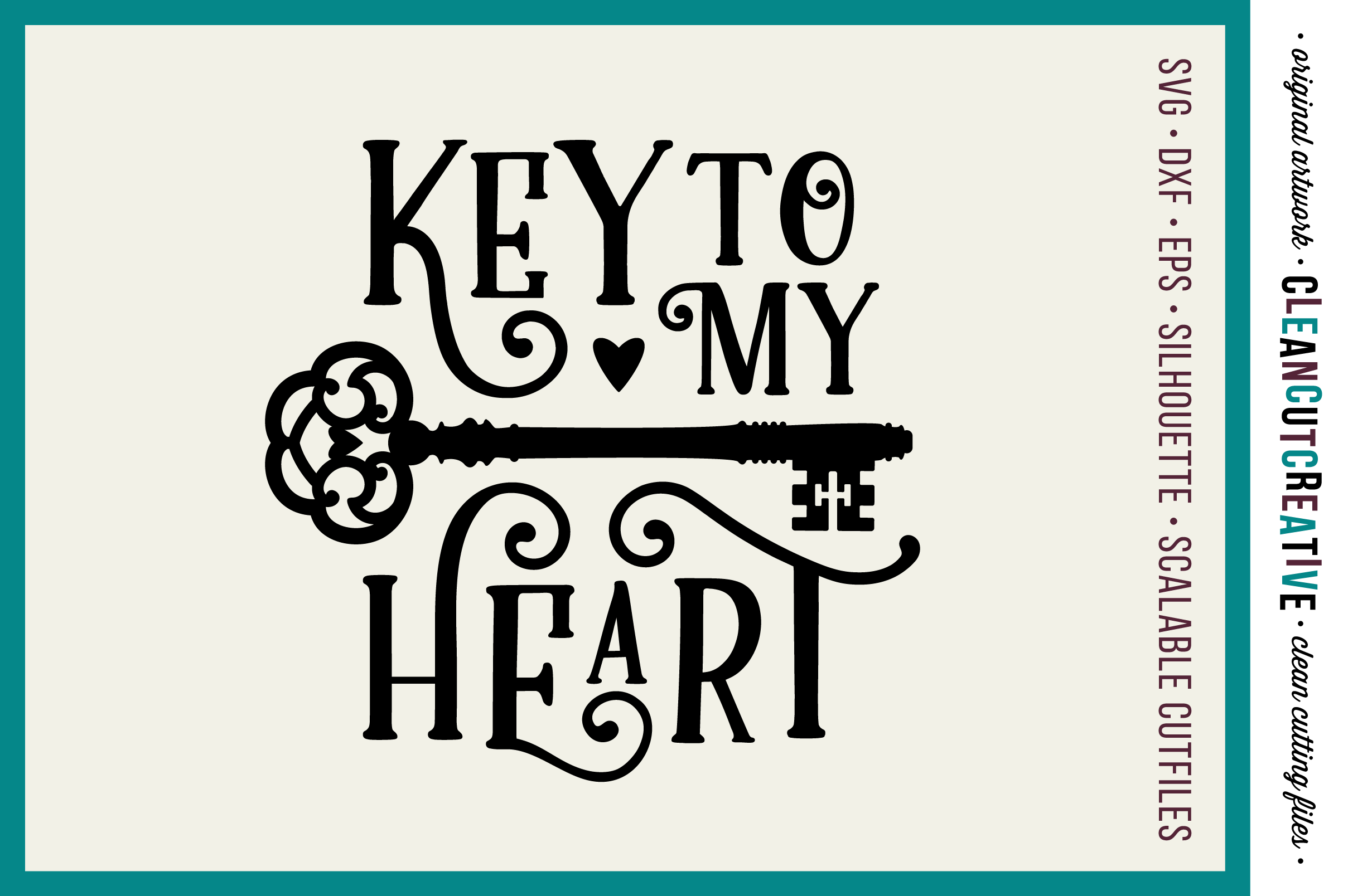 Key to my Heart - Love Cutfile Vintage Key- SVG DXF EPS PNG - Cricut & Silhouette - clean cutting files example image 1