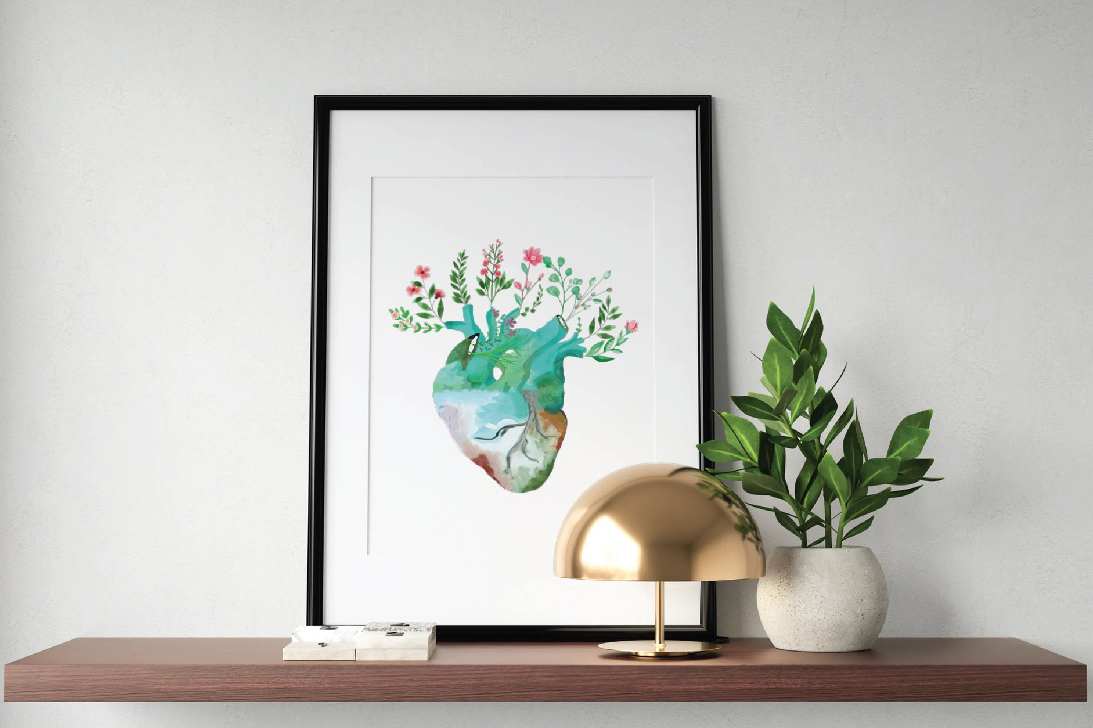 Floral anatomical human heart gift art. Valentine's day png. example image 1