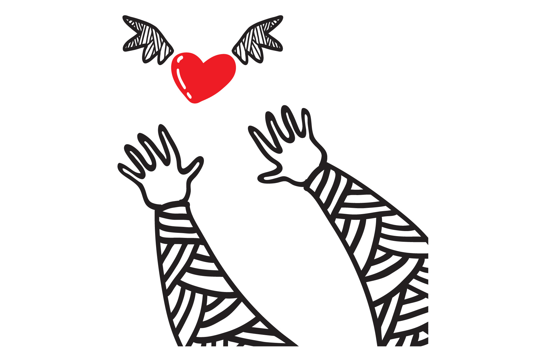 Hands trying to reach the heart with wings. example image 2