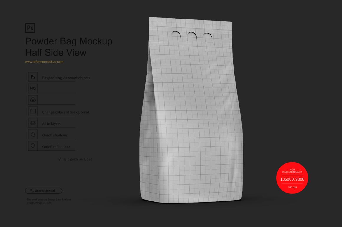 Powder Bag Mockup Half Side View example image 2