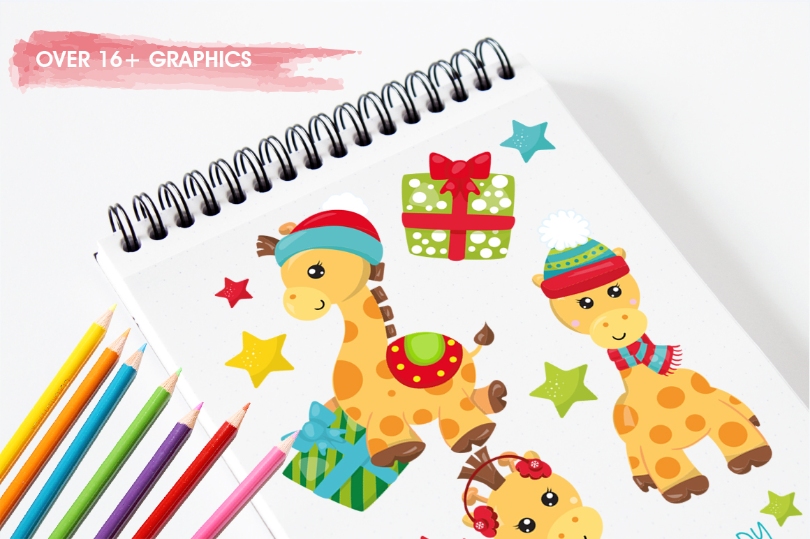 Christmas Giraffes graphics and illustrations example image 3
