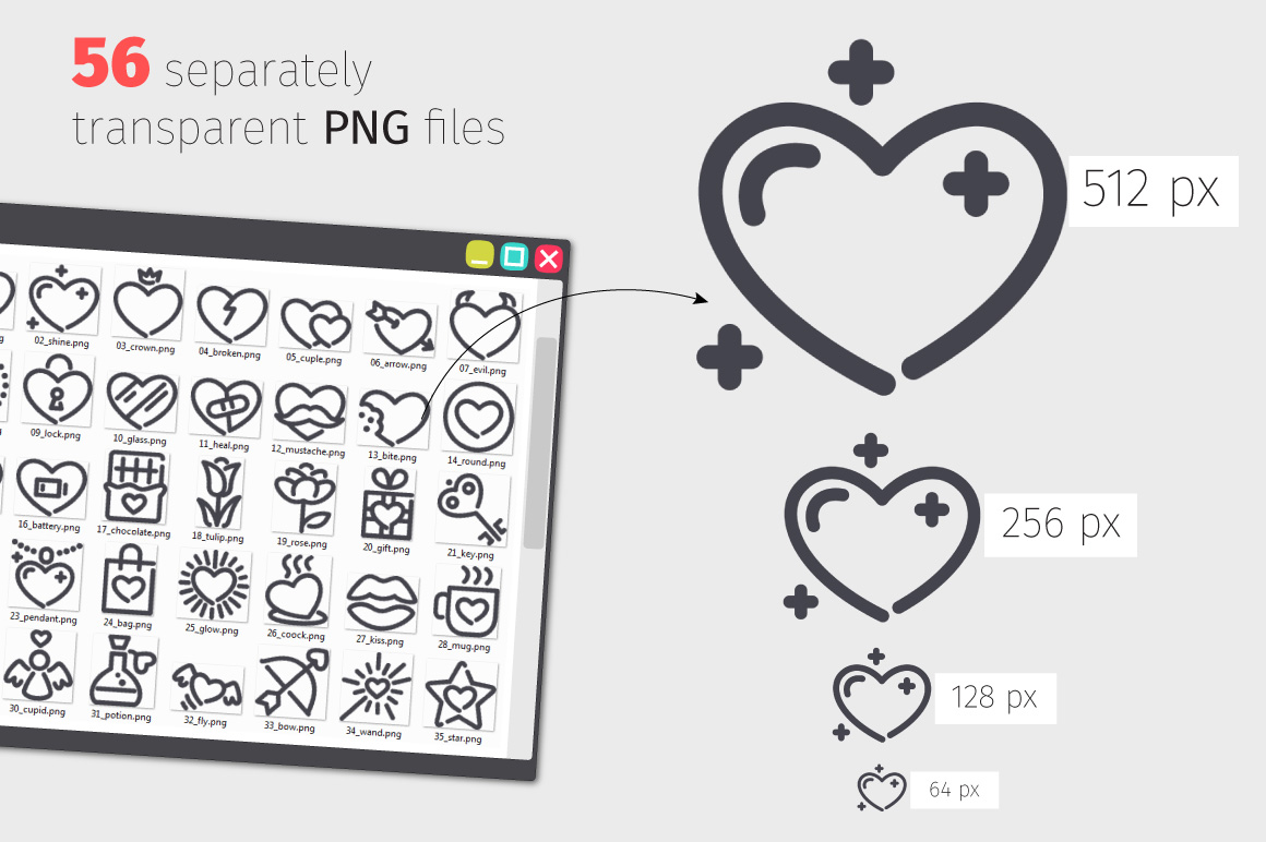 Valentine Line Icons Set example image 3