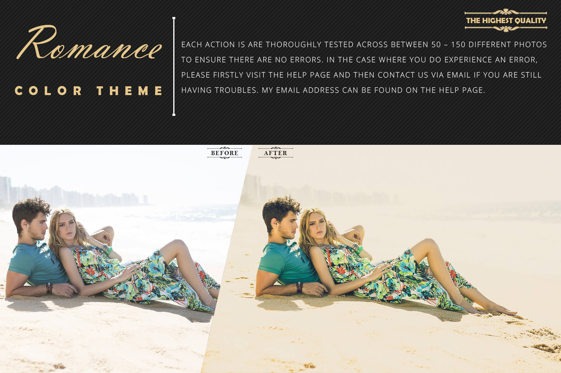 Romance Cinematic Color Grading Photoshop action Filter example image 6