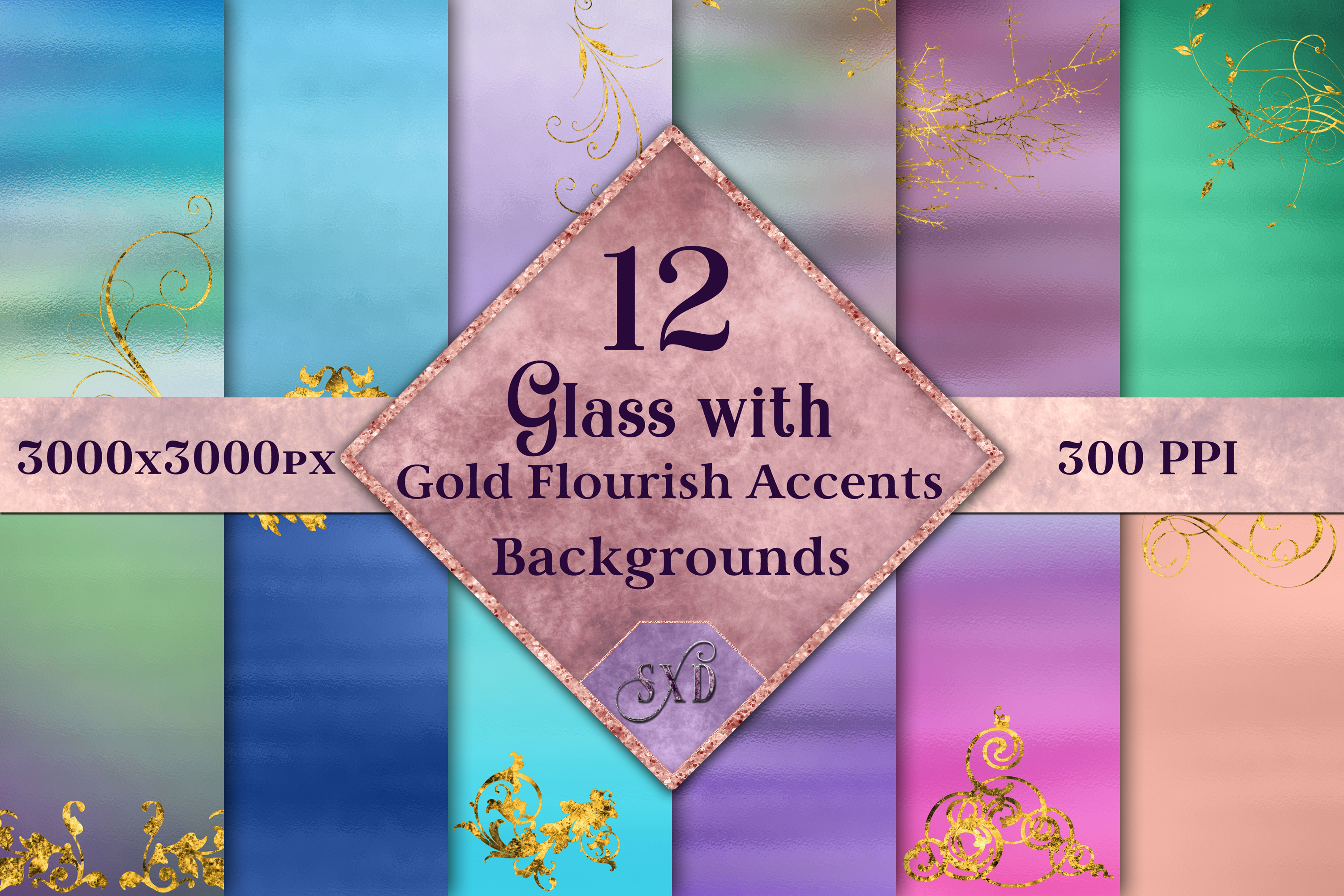 Glass with Gold Flourish Accents Backgrounds - 12 Images example image 1