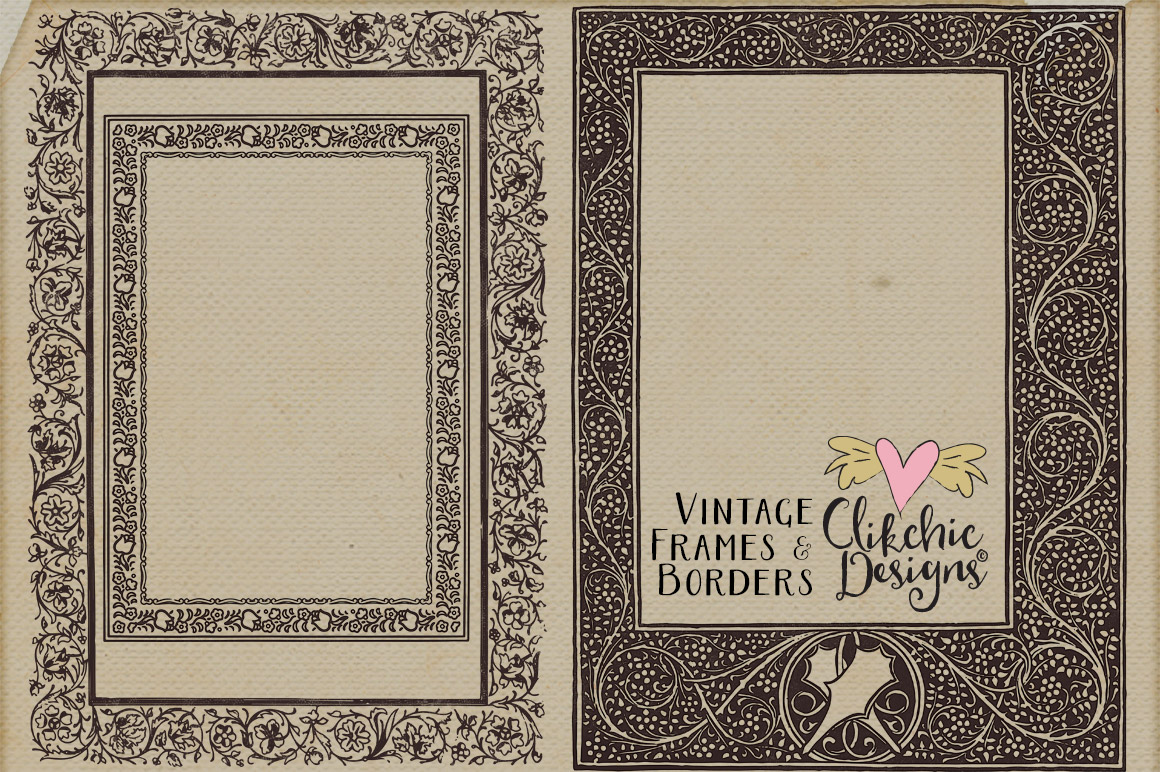Vintage Frames and Borders plus Photoshop Brushes example image 5