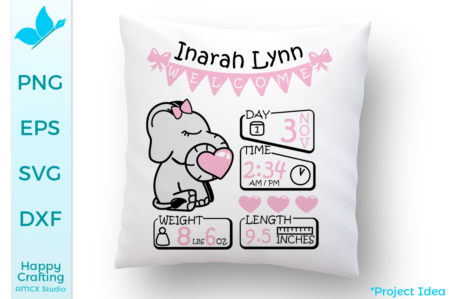 Baby Elephant SVG Files - A cute baby announcement example image 3