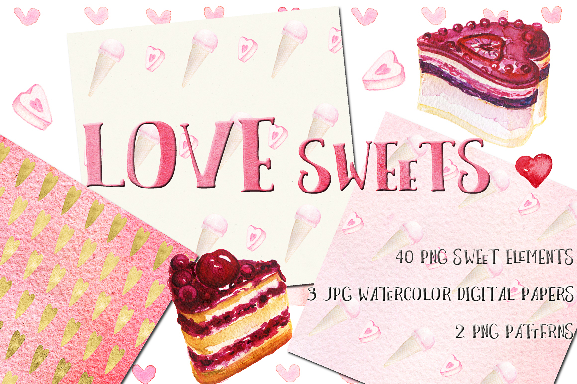 Love sweets. Watercolor clipart example image 1
