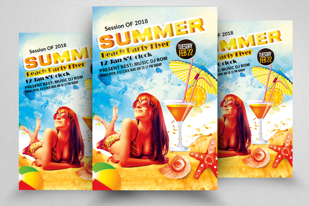 Summer Beach Cocktail Party Flyer example image 1