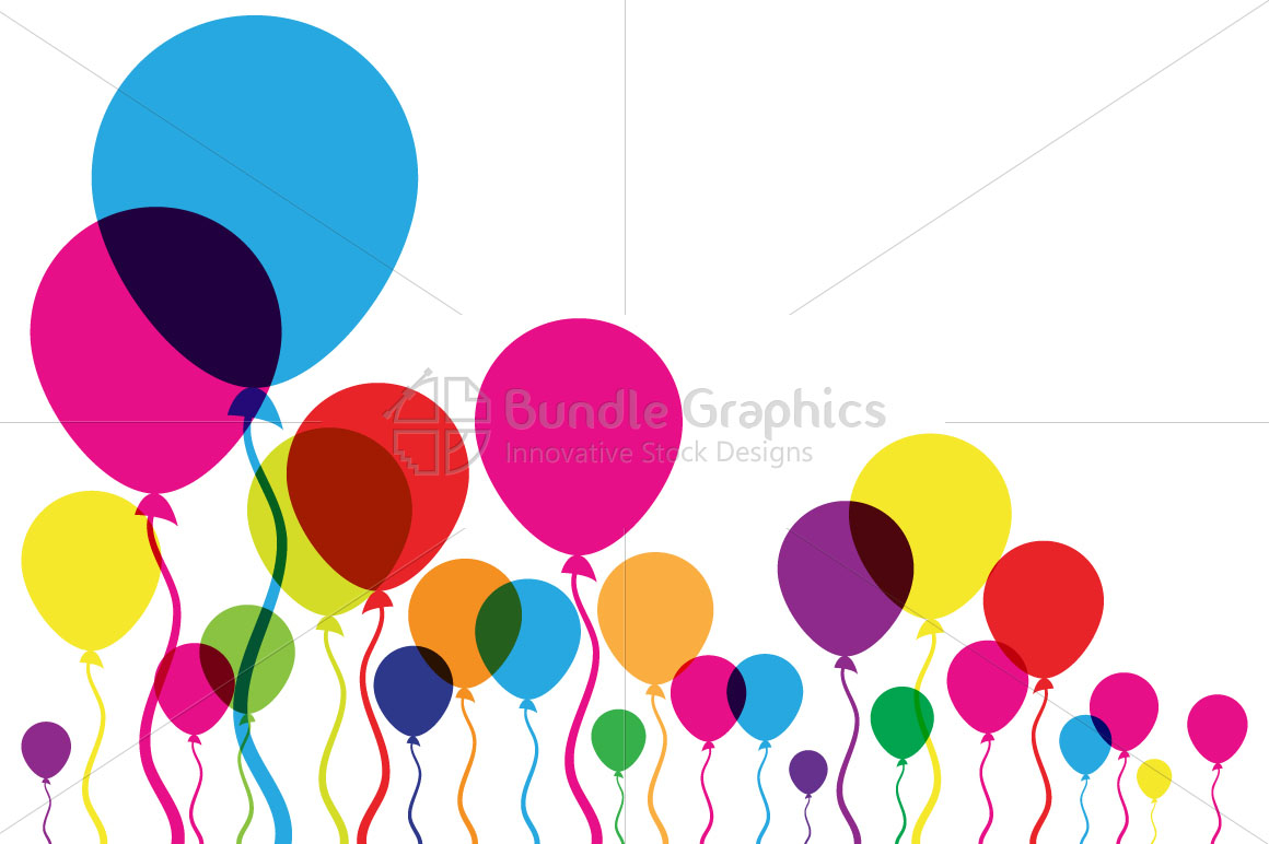 Transparent Colorful Balloons - Minimal Background example image 1