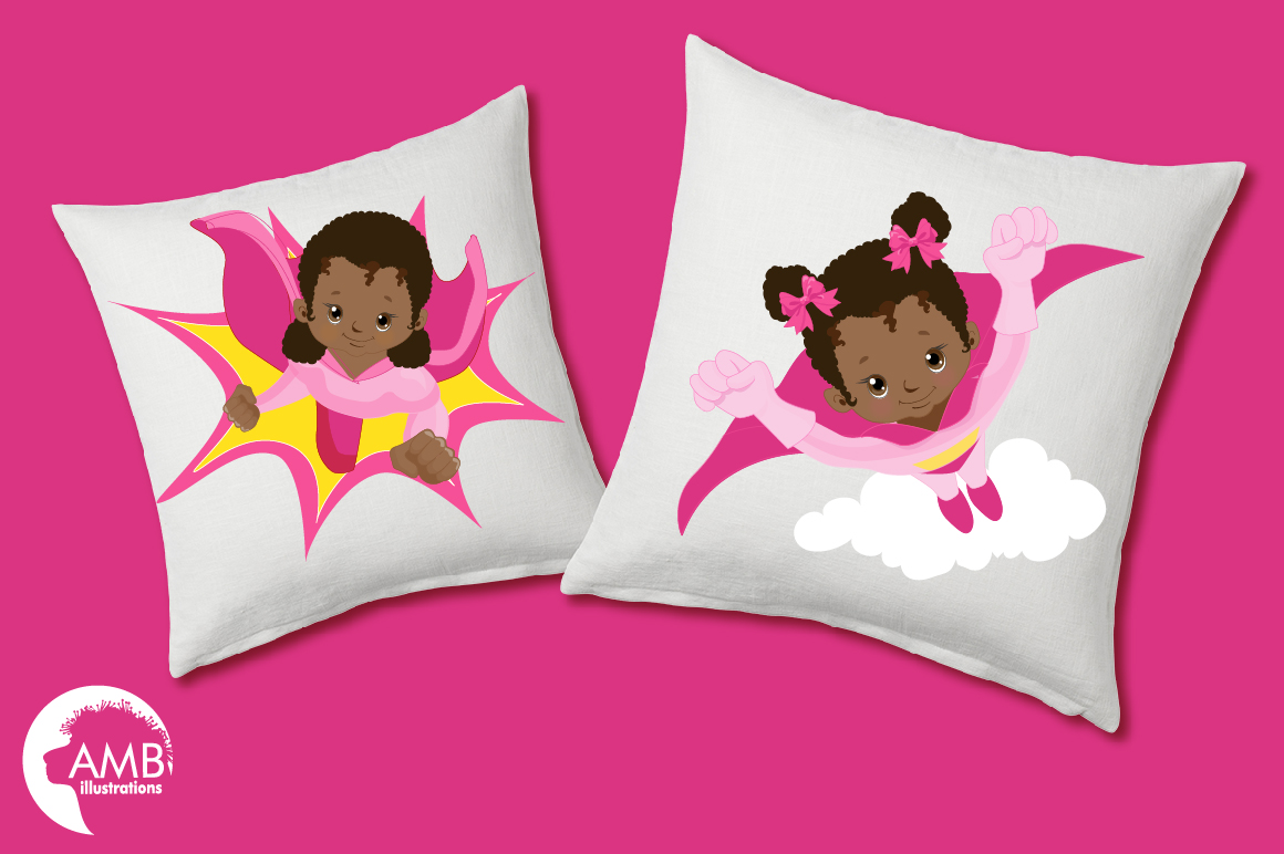 Superhero girls clipart, Dark skin tone, African American supergirls graphics, illustrations AMB-1801 example image 3