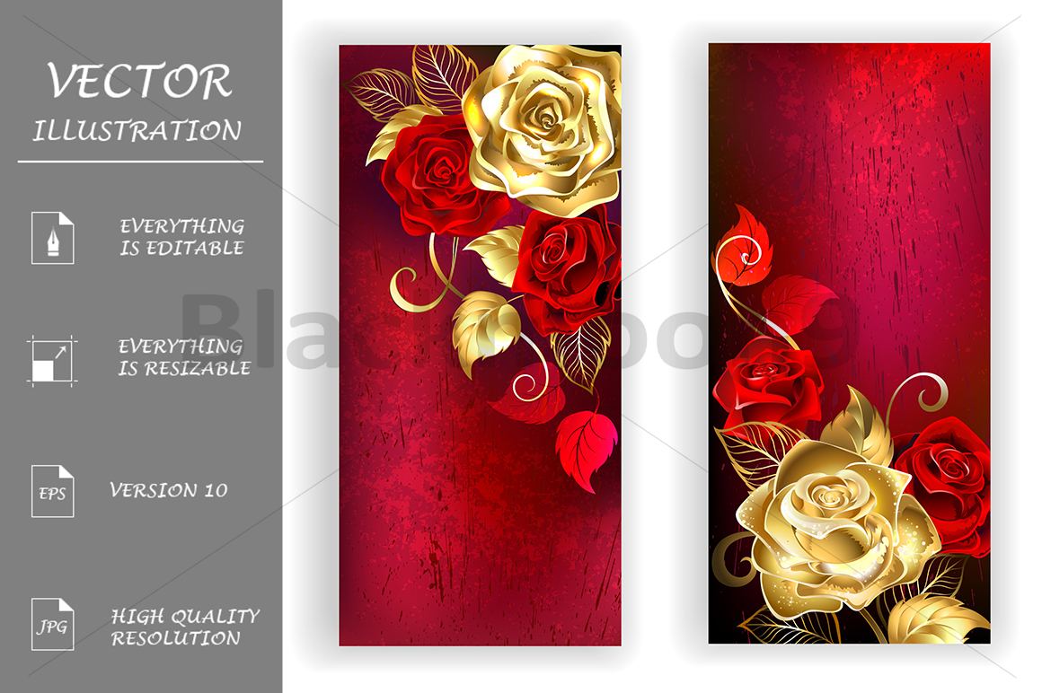 Two Red Banners with Gold Roses example image 1