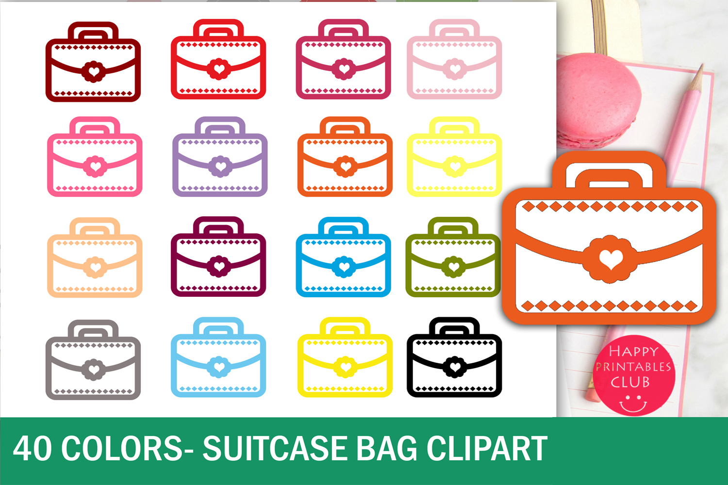 40 Colorful Suitcase-Bag Clipart example image 1