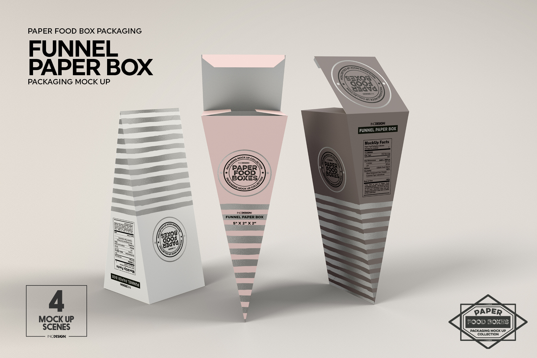 funnel paper box packaging mockup by in design bundles