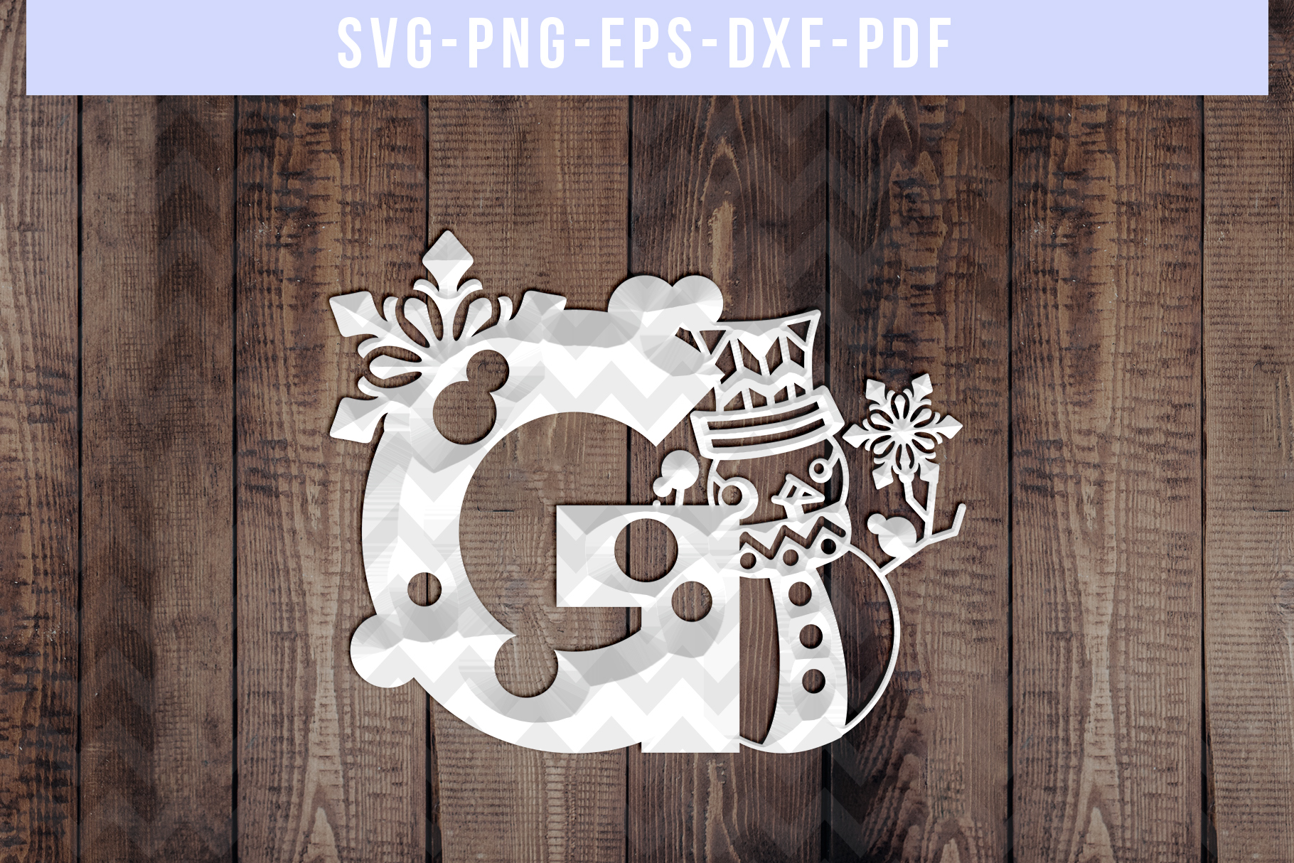 Snowman Font G Paper Cut Template, Winter Cutting SVG, DXF example image 2