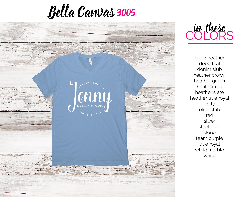 Bella Canvas 3005 Mockup Bundle, V-Neck Tshirt Bundle example image 3