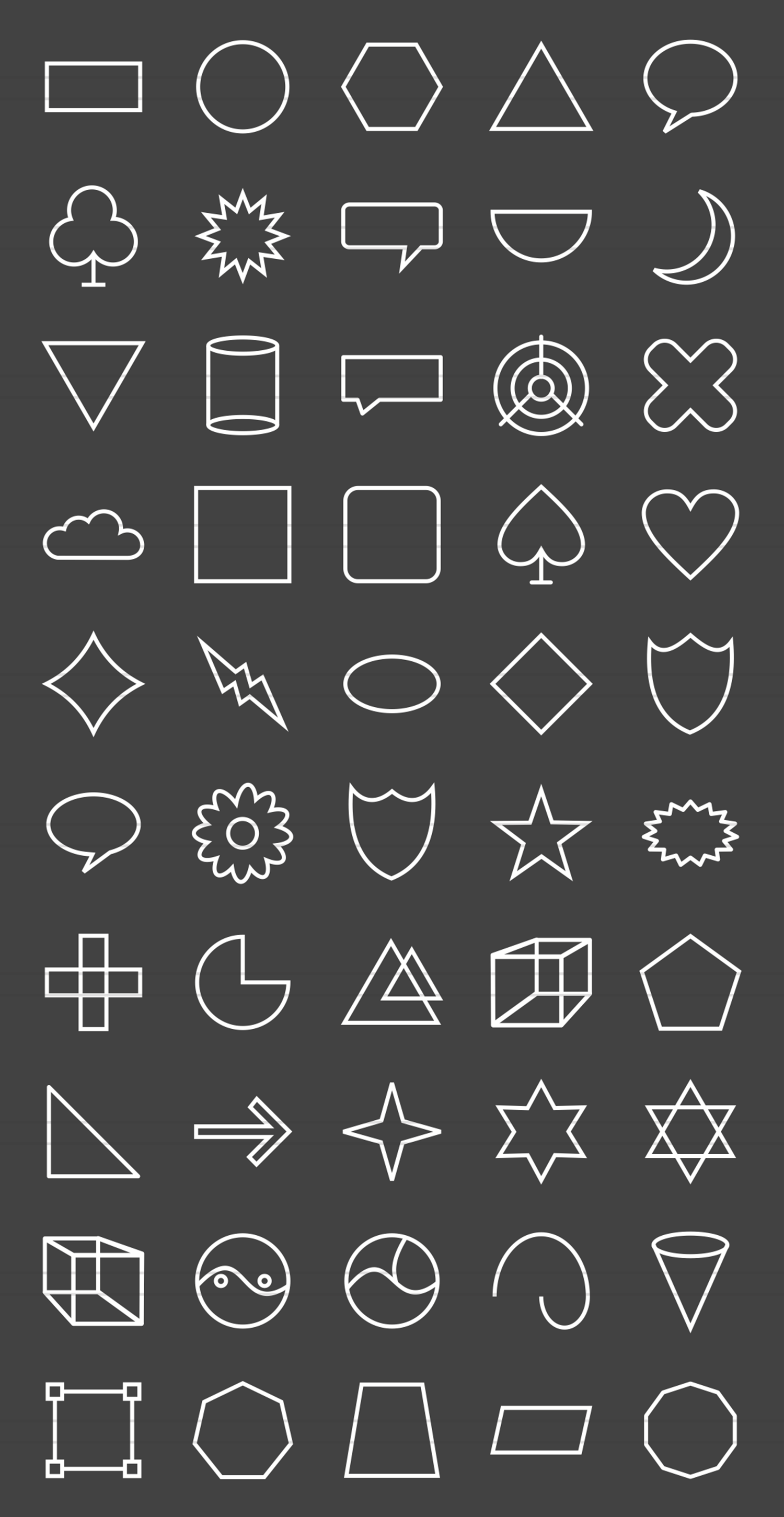 50 Shapes & Geometry Line Inverted Icons example image 2