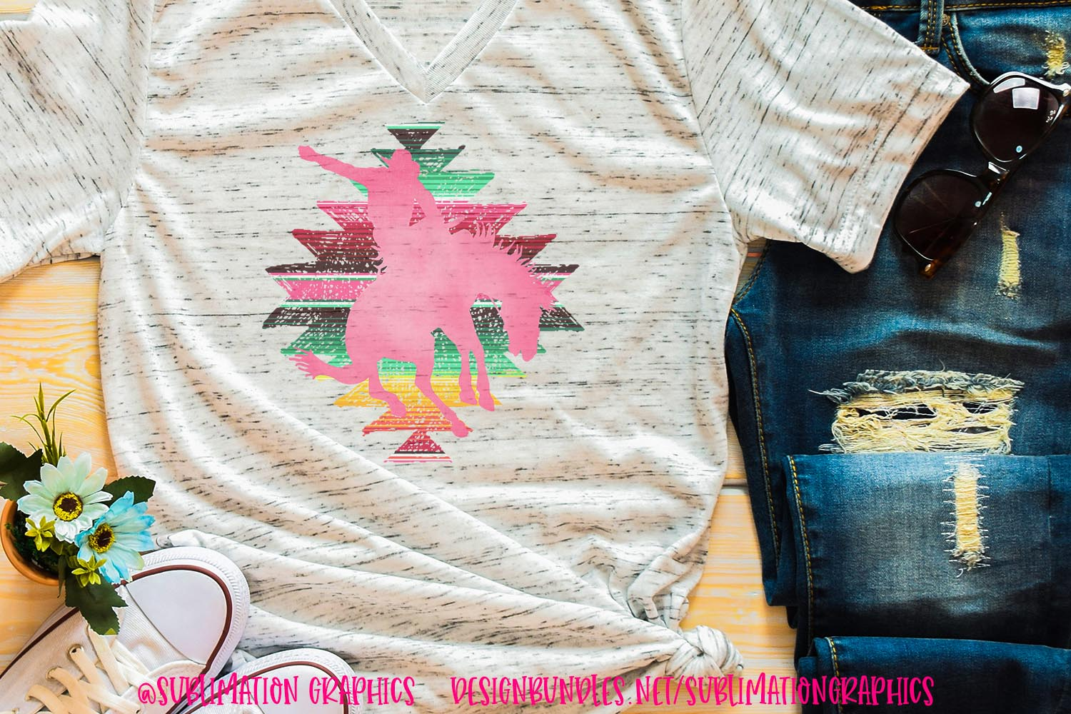 Serape Tribal Bucking Horse Sublimation Digital Download example image 1