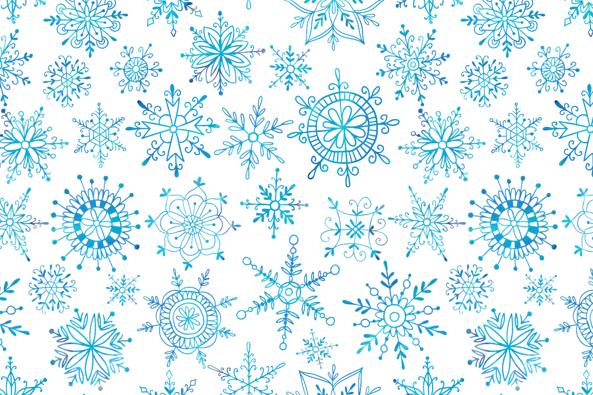 Watercolor snowflakes example image 4