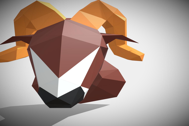 RAM DIY Paper Sculpture Animal head Trophy example image 9
