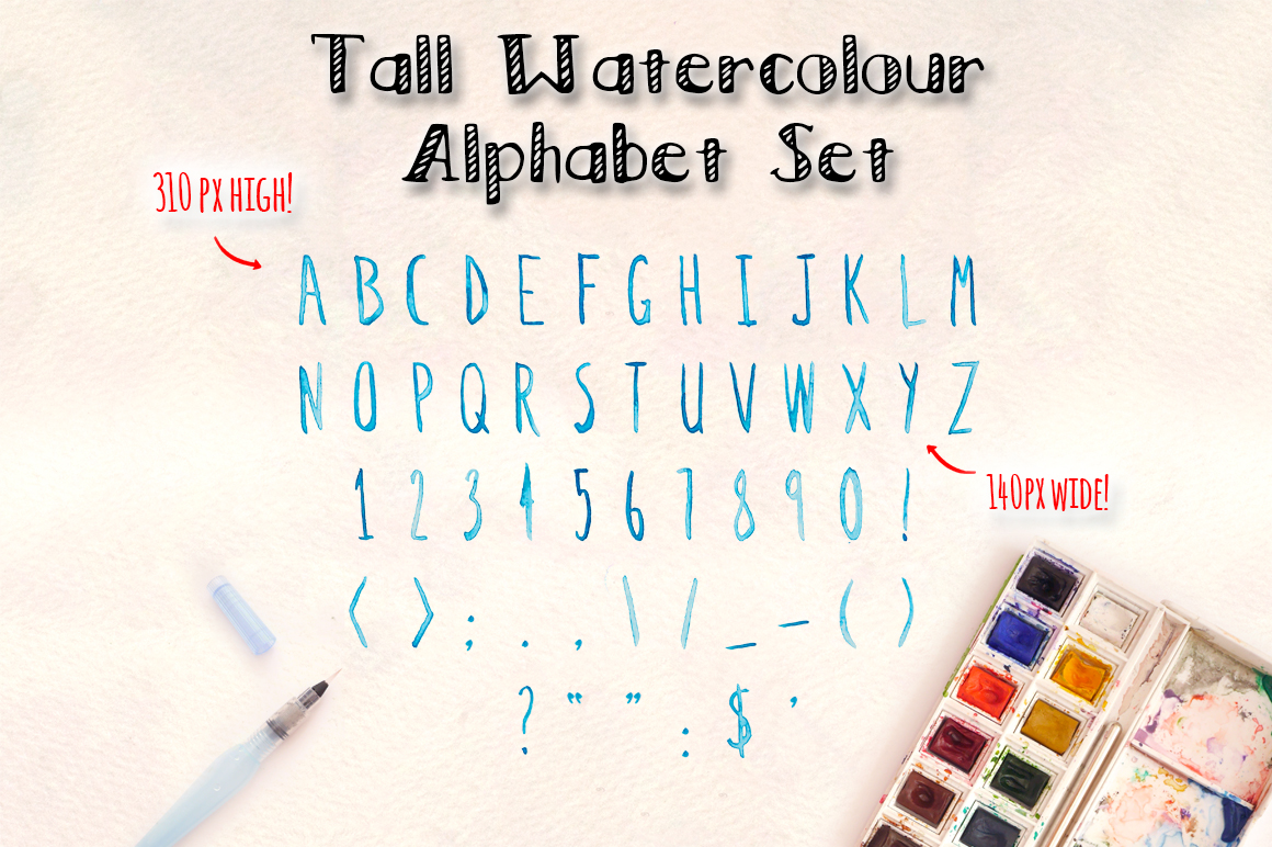 2 Watercolor Alphabet Hand Lettered Brush Sets example image 2